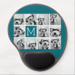 "Create Your Own Instagram Collage Custom Monogram Gel Mouse Pad<br><div class=""desc"">Teal Blue and White - Use 11 square photos to create a unique and personal gift. Or you can keep the hipster puppy and make a trendy keepsake. If you need to adjust the pictures,  click on the customize tool to make changes.</div>"