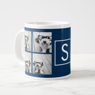 Create Your Own Instagram Collage Custom Monogram Giant Coffee Mug