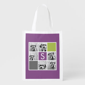 Create Your Own Instagram Collage Custom Monogram Grocery Bag