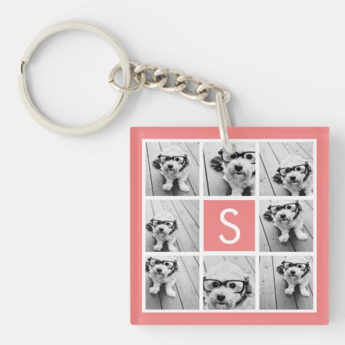 Create Your Own Instagram Collage Custom Monogram Keychain
