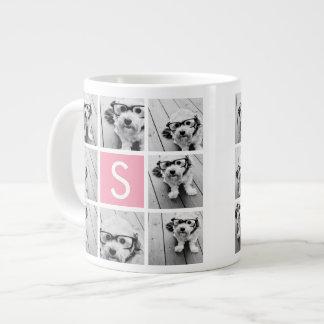 Create Your Own Instagram Collage Custom Monogram Large Coffee Mug
