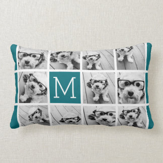Create Your Own Instagram Collage Custom Monogram Lumbar Pillow