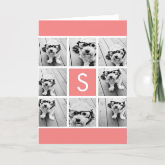 Create Your Own Instagram Collage Custom Monogram Note Card