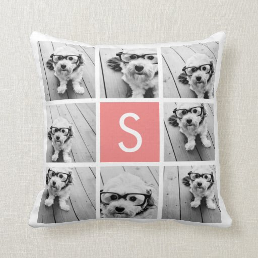 Create Your Own Instagram Collage Custom Monogram Pillow