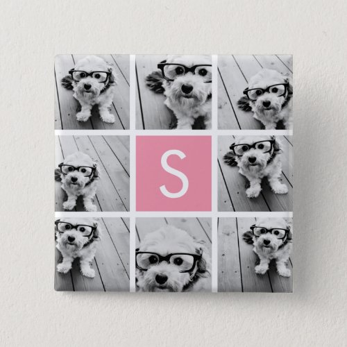 Create Your Own Instagram Collage Custom Monogram Pinback Button