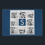 """Create Your Own Instagram Collage Custom Monogram Placemat<br><div class=""""desc"""">Use 8 square photos to create a unique and personal gift. Or you can keep the hipster puppy and make a trendy keepsake. If you need to adjust the pictures,  click on the customize tool to make changes.</div>"""