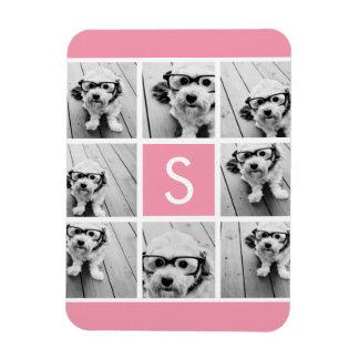 Create Your Own Instagram Collage Custom Monogram Rectangular Photo Magnet