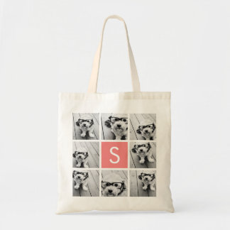 Create Your Own Instagram Collage Custom Monogram Tote Bag