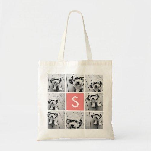 Create Your Own Instagram Collage Custom Monogram Tote Bag