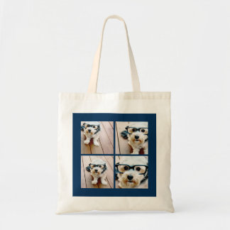 Create Your Own Instagram Collage Navy 4 Pictures Canvas Bags