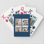 """Create Your Own Instagram Collage Navy 4 Pictures Bicycle Playing Cards<br><div class=""""desc"""">Use four square photos to create a unique and personal gift. Or you can keep the hipster puppy and make a trendy keepsake. If you need to adjust the pictures,  click on the customize tool to make changes.</div>"""