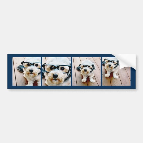 Create Your Own Instagram Collage Navy 4 Pictures Bumper Sticker