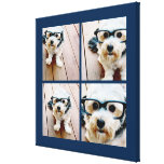 Create Your Own Instagram Collage Navy 4 Pictures Stretched Canvas Print