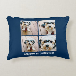 Create Your Own Instagram Collage Navy 4 Pictures Decorative Pillow