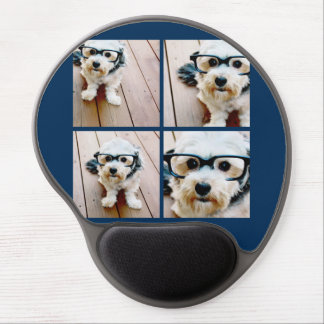 Create Your Own Instagram Collage Navy 4 Pictures Gel Mouse Pad