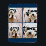 "Create Your Own Instagram Collage Navy 4 Pictures Magnet<br><div class=""desc"">Use four square photos to create a unique and personal gift. Or you can keep the hipster puppy and make a trendy keepsake. If you need to adjust the pictures,  click on the customize tool to make changes.</div>"