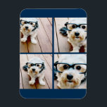 """Create Your Own Instagram Collage Navy 4 Pictures Magnet<br><div class=""""desc"""">Use four square photos to create a unique and personal gift. Or you can keep the hipster puppy and make a trendy keepsake. If you need to adjust the pictures,  click on the customize tool to make changes.</div>"""