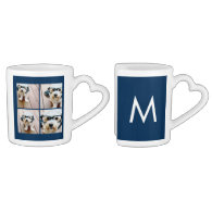 Create Your Own Instagram Collage Navy 4 Pictures Lovers Mug Sets