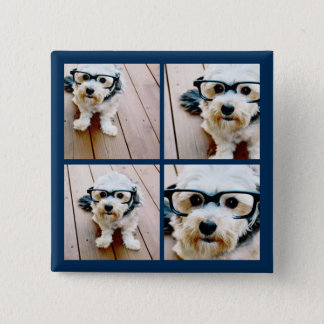 Create Your Own Instagram Collage Navy 4 Pictures Pinback Button