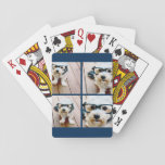 "Create Your Own Instagram Collage Navy 4 Pictures Playing Cards<br><div class=""desc"">Use four square photos to create a unique and personal gift. Or you can keep the hipster puppy and make a trendy keepsake. If you need to adjust the pictures,  click on the customize tool to make changes.</div>"