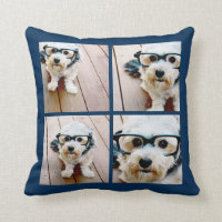 Create Your Own Instagram Collage Navy 4 Pictures Throw Pillow