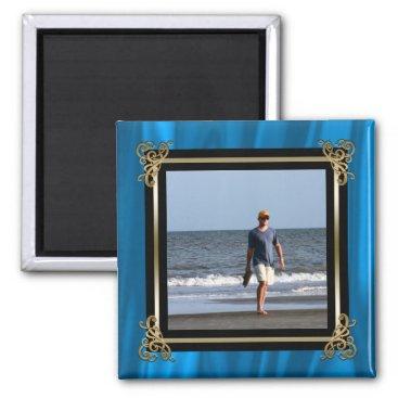McTiffany Tiffany Aqua Create Your Own Instagram Photo Elegant Blue Satin Magnet