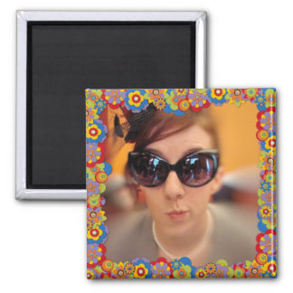 Create Your Own Instagram Photo Trippy Flowers 2 Inch Square Magnet