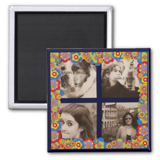 Create Your Own Instagram Photos Trippy Flowers 2 Inch Square Magnet