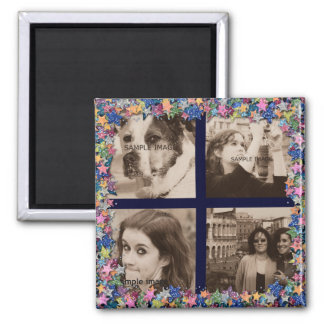 Create Your Own Instagram Pics Girly Glitter Stars 2 Inch Square Magnet