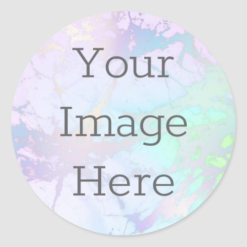 Create Your Own Iridescent Marble  Faux Foil Classic Round Sticker