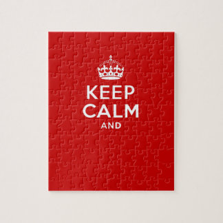Create your own 'Keep Calm and carry on' crown red Jigsaw Puzzle
