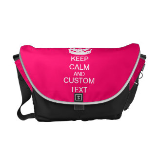 Create Your Own Keep Calm and Carry On Custom Pink Courier Bag