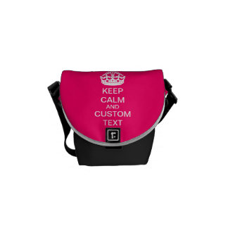 Create Your Own Keep Calm and Carry On Custom Pink Messenger Bag