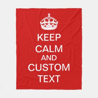 Create Your Own Keep Calm and Carry On Custom Text Fleece Blanket