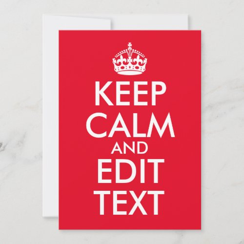 Create Your Own Keep Calm and Edit Text Note Card