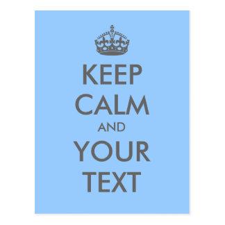 "Create your own ""Keep Calm"" (gray text & crown) Postcard"