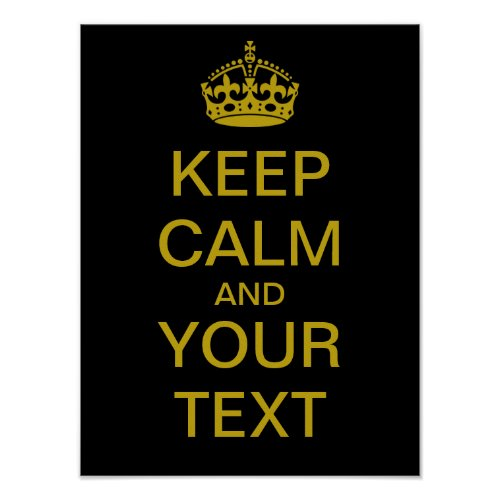 Create Your Own Keep Calm Poster brass