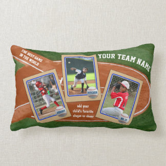 Create Your Own Kids Baseball Card Sports Collage Lumbar Pillow