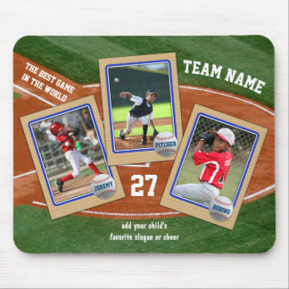 Create Your Own Kids Baseball Cards Sports Collage Mouse Pad