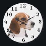 "Create your own large Round Clock<br><div class=""desc"">Create your own large round face clock. Change the beagle picture to your own family picture or leave the cute beagle picture to make a personalized gift. Choose customize it and add your own text to make an unique personalized gift for a holiday gift, wedding anniversary gift, cool birthday gift,...</div>"
