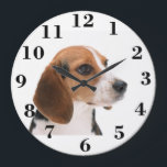 """Create your own large Round Clock<br><div class=""""desc"""">Create your own large round face clock. Change the beagle picture to your own family picture or leave the cute beagle picture to make a personalized gift. Choose customize it and add your own text to make an unique personalized gift for a holiday gift, wedding anniversary gift, cool birthday gift,...</div>"""