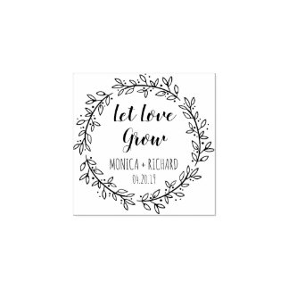 Create Your Own Let Love Grow Typography Wedding Rubber Stamp
