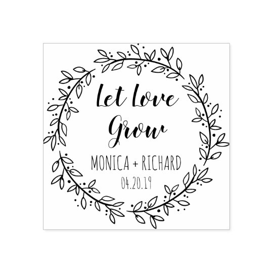 Design Your Own Rubber Stamp: Create Your Own Let Love Grow Typography Wedding Rubber