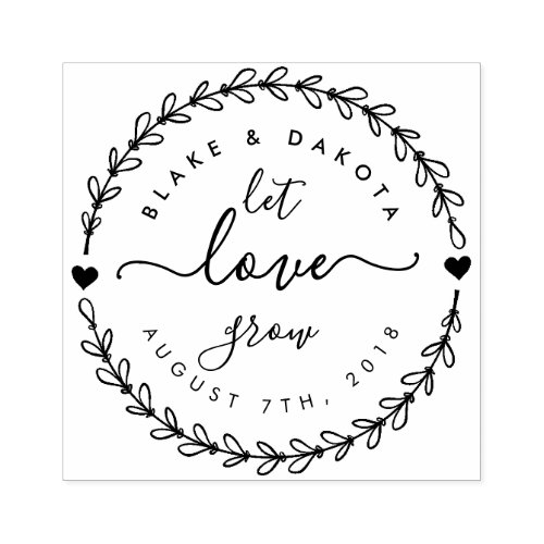 Create Your Own Let Love Grow Wedding Date Rubber Stamp