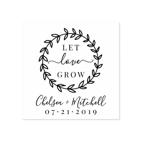 Create Your Own Let Love Grow Wedding Wreath Rubber Stamp