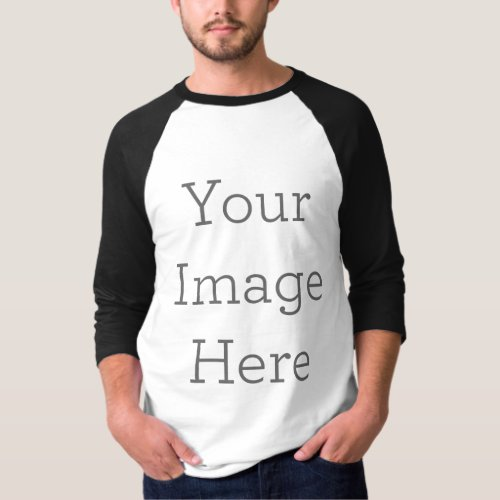 Create Your Own Mens Basic 34 Sleeve Raglan T_Shirt