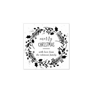 Create Your Own Merry Christmas Wreath Greeting Rubber Stamp