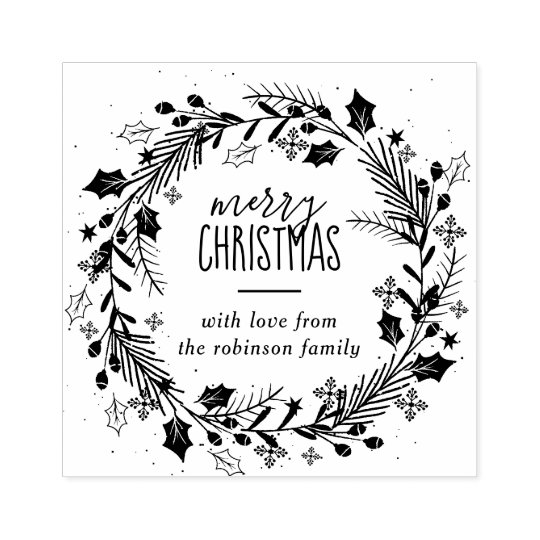 Design Your Own Rubber Stamp: Create Your Own Merry Christmas Wreath Greeting Rubber