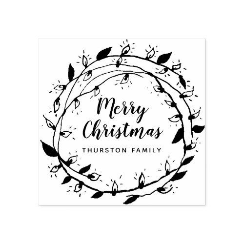 Create Your Own  Merry Wreath  Personalized Rubber Stamp