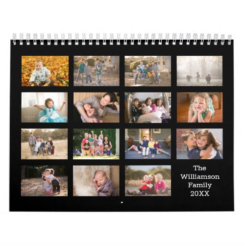 Create Your Own Modern Black Cover 15 Month Photo Calendar